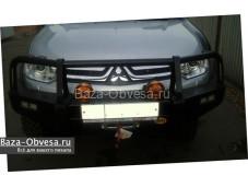 """Бампер передний усиленный """"Piak"""" эконом с кенгурином и площадкой под лебедку на Mitsubishi L200 Triton до 2015г. выуска"""