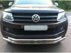 Защита переднего бампера для пикапа Volkswagen Amarok (двойная) d76/60