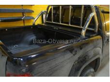 """Защитная дуга 60 мм в кузов с защитной сеткой стекла  """"Afcarfiber"""" на Volkswagen Amarok"""