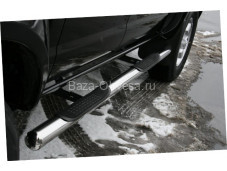 Порог труба 76мм с проступями для Nissan NP300