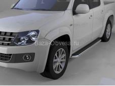 """Пороги алюминиевые Ring """"Can Otomotiv"""" на Volkswagen Amarok"""