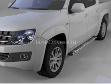 """Пороги алюминиевые Emerald silver """"Can Otomotiv"""" на Volkswagen Amarok"""