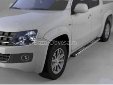 """Пороги алюминиевые Emerald Black """"Can Otomotiv"""" на Volkswagen Amarok"""