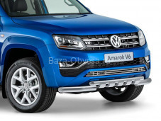 "Нержавеющая двойная защита переднего бампера ""RIVAL"" на Volkswagen Amarok"