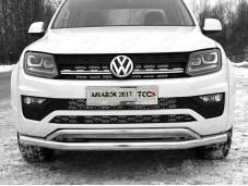 """Нержавеющая двойная защита переднего бампера """"TCC"""" на Volkswagen Amarok"""
