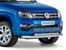 """Нержавеющая двойная защита R.5804.003 """"RIVAL"""" на Volkswagen Amarok"""