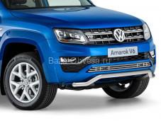 """Нержавеющая одинарная защита переднего бампера """"RIVAL"""" на Volkswagen Amarok"""