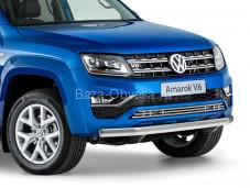 """Нержавеющая овальная защита переднего бампера """"RIVAL"""" на Volkswagen Amarok"""