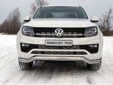 """Нержавеющая одинарная защита переднего бампера """"TCC"""" на Volkswagen Amarok"""