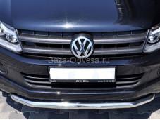 """Нержавеющая одинарная защита переднего бампера """"ARP"""" на Volkswagen Amarok"""
