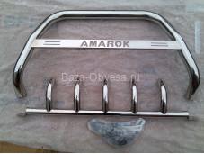 """Нержавеющая защита переднего бампера с логотипом """"AMAROK"""" """"ARP"""" на Volkswagen Amarok"""