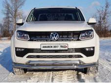 """Двойная защита переднего бампера VWAMAR17-33 """"TCC"""" на Volkswagen Amarok"""