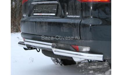 Защита задняя двойная D76/76 на Mitsubishi Pajero Sport от 2008г. выпуска
