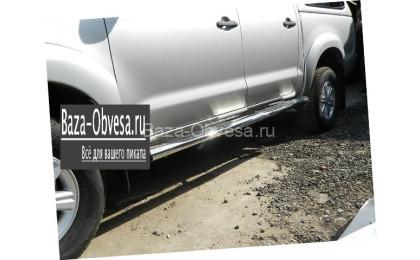 Пороги овальные стальные для Mitsubishi L200 до 2014г. выпуска