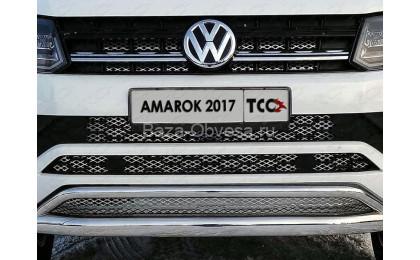 """Нержавеющая двойная защита переднего бампера с решеткой """"TCC"""" на Volkswagen Amarok"""