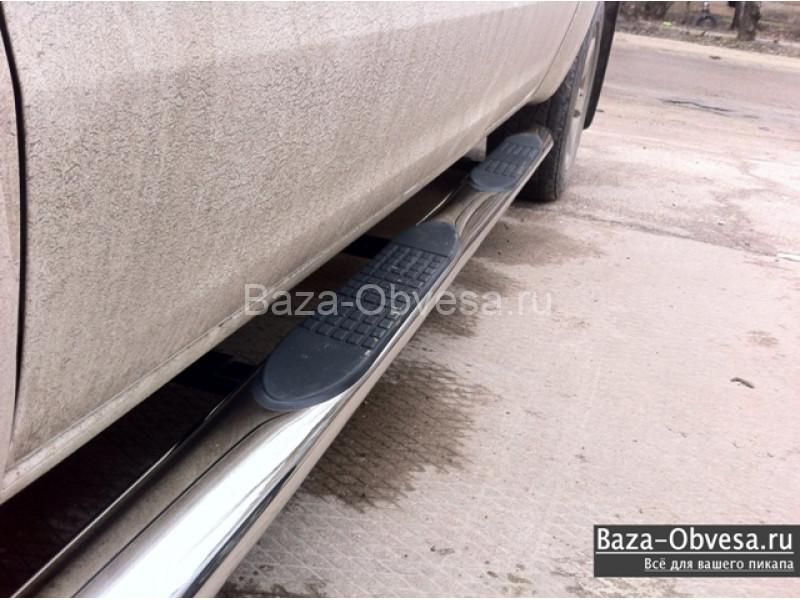 Пороги стальные овальные для пикапа VW Amarok